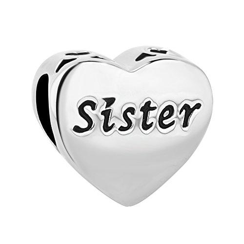 Korliya, charm a forma di cuore con scritta sister e cristalli, per bracciali europei e rame, colore: rosa, cod. emw_dpc_my793_x10