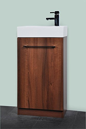 Small Compact Dark Walnut 45cm Cloakroom Vanity Unit including Luxury tap