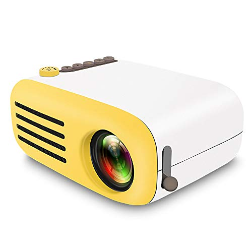 YXFYXF Led-Projektor 320X240 Pixel USB Mini Tragbarer Projektor Home Media Player Kino Video Beamer,Yellow-BatteryVersion 320 Stereo