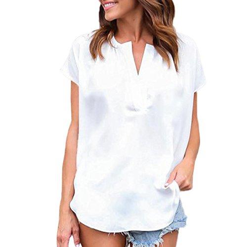 Manadlian - T-shirts Chemisier Blouse Femme Ete 2018,Femmes Sexy Tops Mode à Manches Courtes T-Shirt Chemisier Uni Blanc