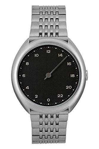 slow O 02 – alle Silber Stahl schwarz Zifferblatt Unisex Quarzuhr mit schwarzem Zifferblatt Analog-Anzeige und Silber Edelstahl Armband