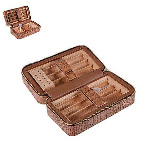 DZWJ Zigarren Humidor, Zigarrenetui Zedernholz Travel Tragbarer Zigarren Humidor aus Leder mit Luftbefeuchter 6 Count