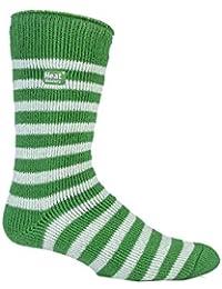 Véritable pour homme Hiver thermique Heat Holders Chaussettes de foot, de Rugby 6–11uk &à rayures Vert/Blanc