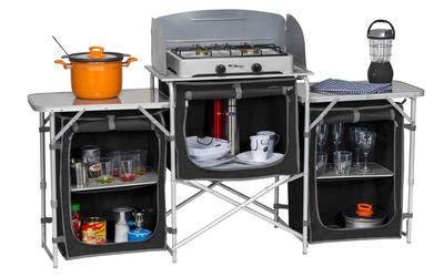 Berger Campingküche XL Küchenbox faltbar Aufbauschrank Camping Aufbewahrungsbox Faltschrank Küche Camping Küche