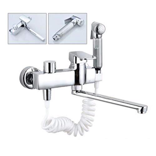 Sjqka pieno di rame in-parete cucina acqua calda e fredda rubinetto doppio manico a parete lavabo lavandino lavandino rubinetto della piscina ruotabile