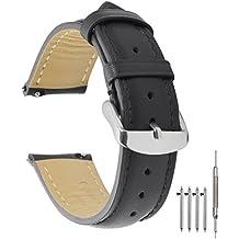 TStrap Liberación Rápida Correa 22mm Piel Auténtica Repuesto Suave Acolchada Banda Con Hebilla Del Inoxidable Acero Pin