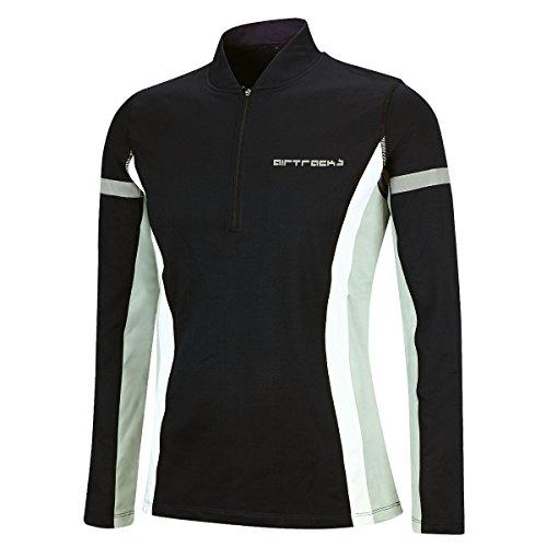 Airtracks Winter Funktions Laufshirt/Damen oder Herren/Thermo Funktionsshirt/Fleece Running T-Shirt/Reflektoren/Langarm - schwarz - XL - Herren