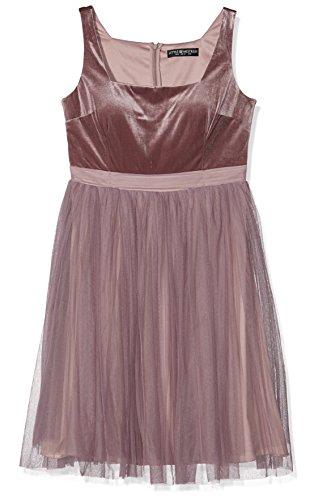 Little Mistress Damen Kleid Velvet and Tulle Dress, Pink (Mink), 36 (Kleid Pleated Velvet)