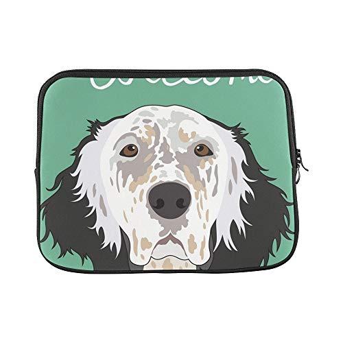 QuqUshop Design Personalizzato Setter Inglese Buddy Dog Sleeve Custodia Morbida per Laptop Custodia per MacBook Air 11'(2 Lati)