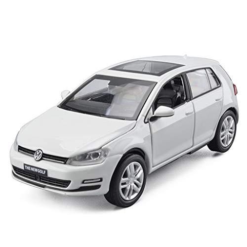 HTDZDX Automodellsimulation Dreitürer Sound und Unterhaltungsmusik Zurück zum Legierungsauto Spielzeugauto 1:32 Golf 7 (Color : White)