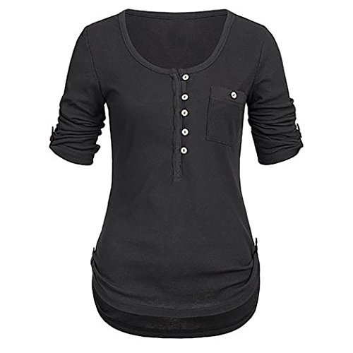 Tops Damen Oberteile Taste mit Taschen DOLDOA T-Shirt Bluse Pullover Langeshirt (T-shirt Dunkles Glühen Sie)