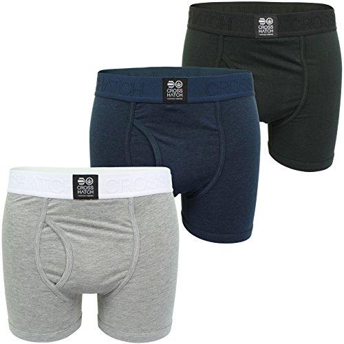3Pack New Mens Designer Crosshatch Elastic Boxers Shorts Trunks Under Wear Pants 3 Pack Mix