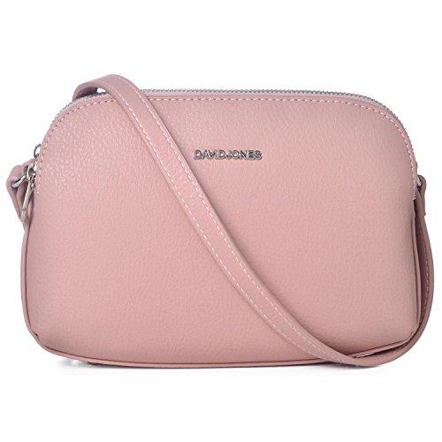 David Jones - Damen Mittelgroße Umhängetasche Viele Taschen Fächer - Reißverschluss Leder Schultertasche Multi Pocket - Einfach Frauen Handtasche - Messenger Basic Tasche Crossbody Bag - Rosa Pink