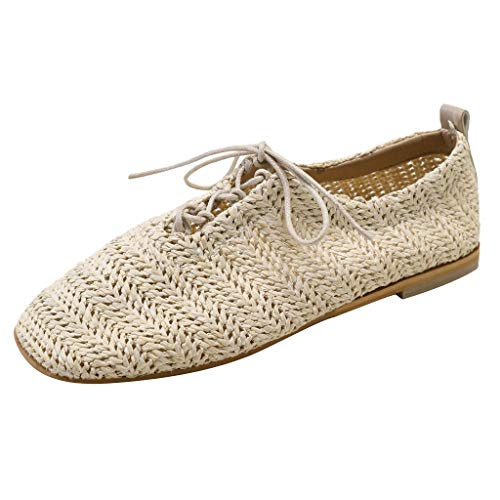 Damen Sandalen,Dorical Frauen Vintage Sommer Wohnung Müller Einzelne Schuhe Gewebte Schuhe Schnüren Lazy Shoes Sandalen Für Outdoor/Alltag/Party/Casual 35-39 EU Reduziert(Beige,36 EU)