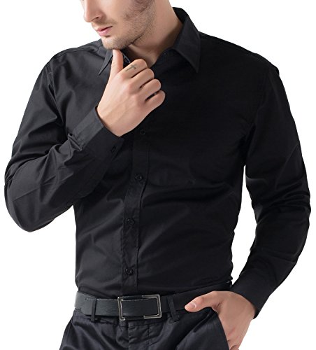 Schwarz Shirts für Man slim fit Hemd Lange ärme casual mode Hemd Größe M CL5252-1