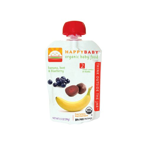 HAPPY BABY ORGANIC BABY FOOD STAGE 2 BANANA BEETS AND BLUEBE