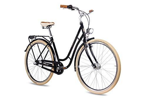 CHRISSON 28 Zoll Retro Citybike Damen - N Lady 3G schwarz - Damen-City-Fahrrad mit Shimano Nexus 3 Gang Nabenschaltung im Retro Design, Vintage Damenfahrrad mit Rücktrittbremse und Gepäckträger -