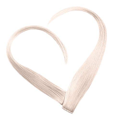 Clip In Extensions Set 100% Echthaar 7 teilig 70g Haarverlaengerung 40cm Clip-In Hair Extension in der Farbe Weißblond