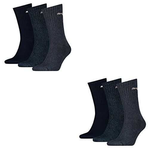 6 pair Puma Sneaker Quarter Socks Unisex Mens & Ladies In 3 Colours, Socken & Str��mpfe:43-46, Farben:277 - blu / grey m��
