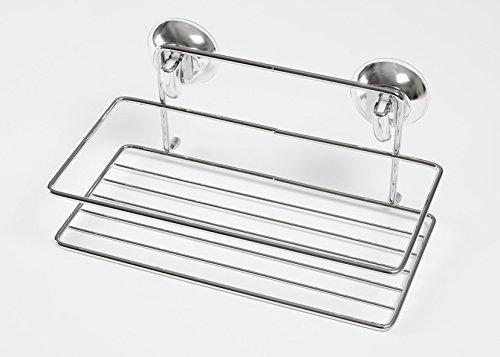 Étagère de douche chromé avec ventouse adria collection eva