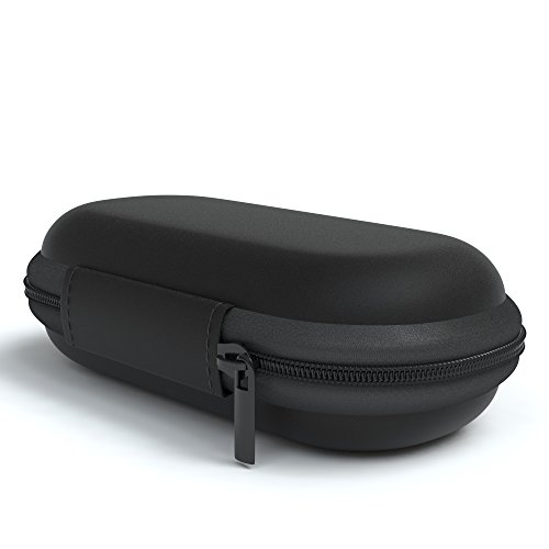 EAZY CASE Universal Tasche für In-Ear Kopfhörer mit Netzfach - Hardcase Aufbewahrungsbox, Schutztasche mit umlaufenden Reißverschluss, extra klein, oval, Schwarz - 4