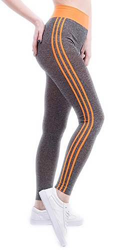 JIASHA Frauen Power Stretch Plus Size High Taille Yoga Pants Running Strumpfhosen, Orange, XL(length93CM)