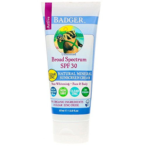 Badger - Active Clear Zinc Sunscreen Cream Unscented 30 SPF - 2.9 oz. - Active Sunscreen
