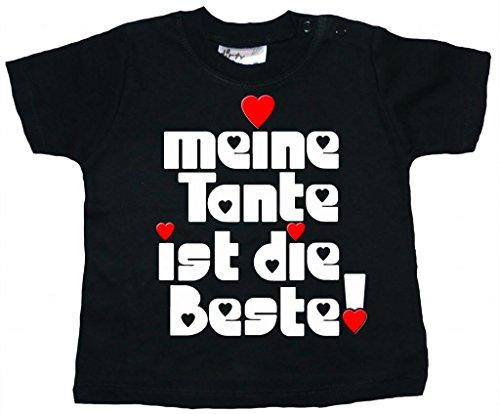 Dirty Fingers, Meine Tante ist die Beste!, Baby Mädchen T-Shirt, 24-36m, Schwarz