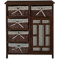 Mobili Rebecca® Aparador Mueble Multifuncional Marrón 1 Puerta 5 Cajones Madera Mimbre Tejido Cocina Dormitorio (Cod. RE6086)