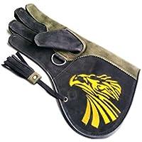 starlingukpk Guantes de piel de nobuk auténtica de calidad de doble capa, para la caza de aves, guantes para mascotas, mano derecha (grande)