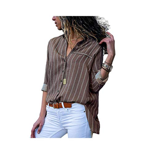 Women Striped Chiffon Long Sleeve Turn Down Collar Office Shirt Casual Loose Tops Blouses -