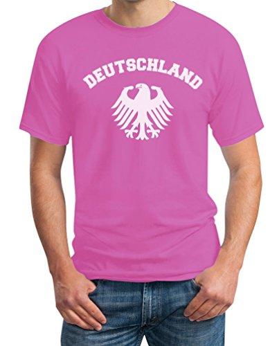 Deutschland Adler Weiss Cooles Fan Motiv Fanshirt EM WM Olympiade T-Shirt Rosa