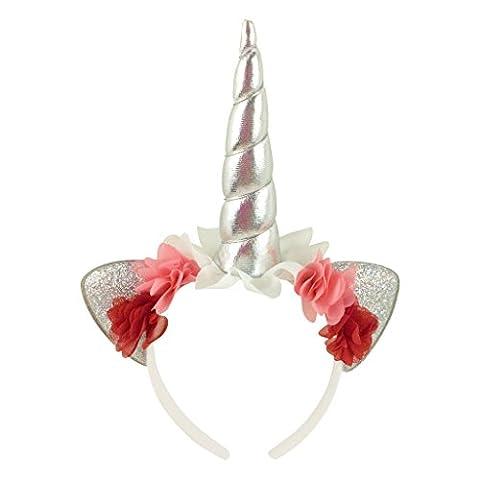 Jxstar Girls Hairband Unicorn Headband Flowers Bling Cat Ear Head band White