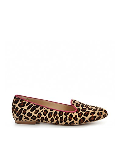 ShoeVita handgefertigte Loafer Damen Leder Fell Slipper Leo Look Animalprint Größe 33 - 45 Braun