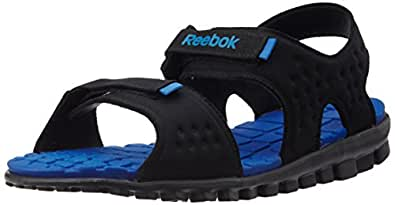 Reebok Men's Ultra Flex Black,Silver And Blue Sandals And Floaters - 10 UK