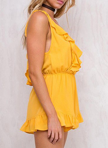 ACHICGIRL Women's V Neck Sleeveless Backless Ruffle Solid Romper yellow