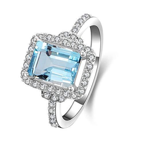 Anyeda Ring Silber Damen 925 Emerald Cut 6X4Mm Blautopasband Groß Ringe Damen Breit Ringgröße 61 (19.4) (Gold-emerald-cut-ringe Rose)