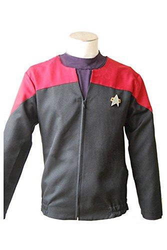 Star Trek Voyager Command Uniform Cosplay Kostüm Rot Herren (Voyager Kostüme Star Trek)