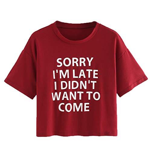 se Lässig Mode T-Shirt Frühling Sommer Bequem Blusen Frauen Kurzarm T-Shirt mit Rundhalsausschnitt für Damen Lässige Top Bluse(Rot, L) ()