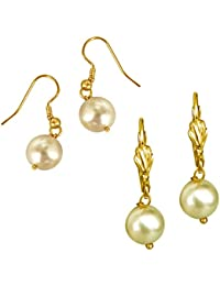 Surat Diamonds Set Of 2 White & Yellow Shell Pearl & Gold Plated Wire Dangle & Drop Earrings For Women (H1680)