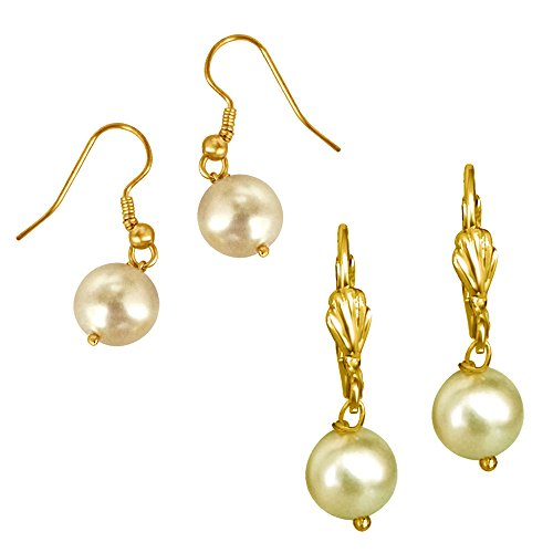 Surat Diamonds Set of 2 White & Yellow Shell Pearl & Gold Plated Wire Dangle & Drop Earrings For Women (H1680)  available at amazon for Rs.111
