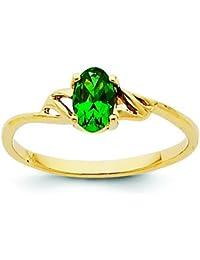 14Karat Gold Geburtsstein Smaragd Ring–Größe L 1/2