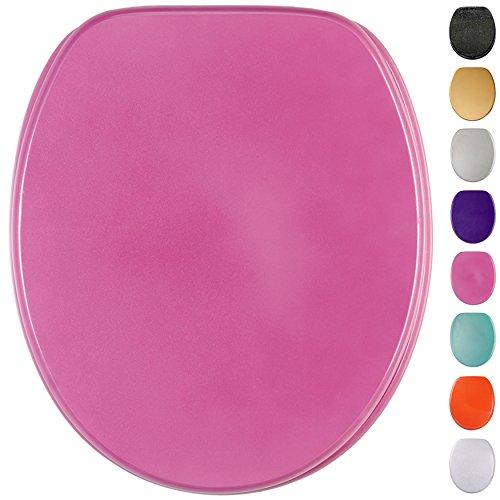 Glitzer WC Sitz mit Absenkautomatik, viele schöne glitzer WC Sitze zur Auswahl, hochwertige und stabile Qualität aus Holz (Glitzer Pink)