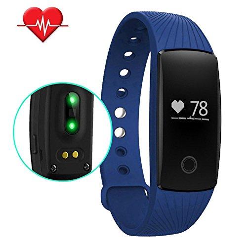 Preisvergleich Produktbild Herzfrequenz Monitor Armband Wasserdicht,  topyart id107 HR Wasserdicht Fitness Tracker Herzfrequenz Monitor Bluetooth 4.0 Sleep Monitore Schrittzähler Kalorien Tracking Armband für Android iOS Smartphone blau blau