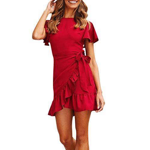MO Damen Festliche elegant Kleid Plus Size Damen Knielang Retro V-Ausschnitt Höhe Taille ()