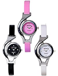 Freny Exim Sophisticated Set Of 3 Black Pink And White Round Dial Soft Strap Analog Women Watches For Girls