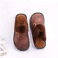 OMFGOD Slippers Los Hombres PU Zapatillas Invierno Home Interior Caliente Impermeable Antideslizante Silencio Piso Zapatos,40-41,Café