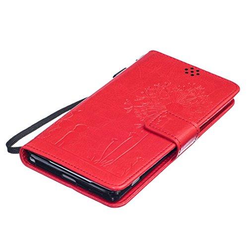 ANNN® Sony Xperia M2 Coque Embossing pissenlit PU Cuir Flip Housse Étui Cover Case Wallet Stand avec Carte de Crédit Fentes + Quill stylet + Pendentif poisson--A01 A04