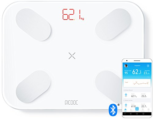 PICOOC S1 pro, báscula digital personal Smart con App, Bluetooth, análisis largo plazo PHMS, grasa corporal BMI agua masa muscular, Apple iOS, Android