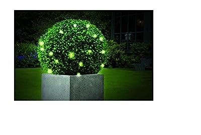 künstlicher Buchsbaum Buchsbaumkugel künstlicher mit LED Beleuchtung und verzinkter rostfreier Kette zum Aufhängen - mit strahlender wamrweißer LED Beleuchtung in der Kugel durch 20er LED Lichterkette batteriebetrieben von Tourwell Vertrieb - Du und d